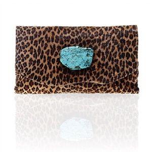 Marie Calf Hair Wallet/Clutch in Small Leopard